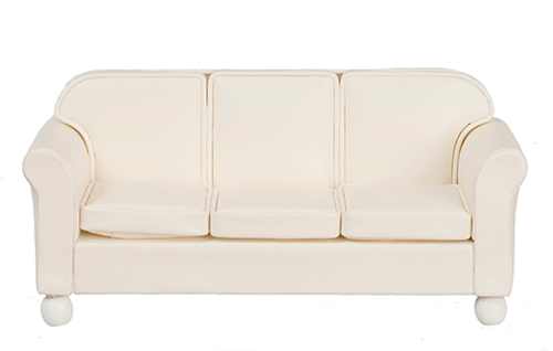 Dollhouse Miniature Leather Sofa, Cream