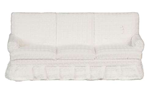 Dollhouse Miniature Sofa, White, Walnut