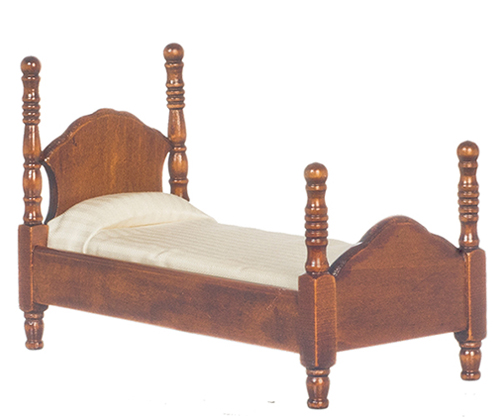 Dollhouse Miniature Twin Bed, Walnut