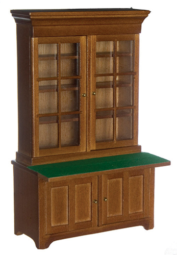 Dollhouse Miniature Lincoln Bookcase, Walnut