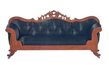 Dollhouse Miniature Lincoln Black Leather Sofa