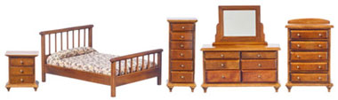 Dollhouse Miniature Bedroom Set, 5Pc, Walnut