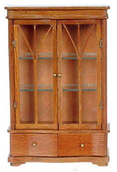 Dollhouse Miniature China Cabinet with 2 Drawers, Pecan