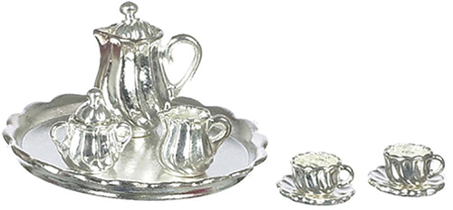 Dollhouse Miniature Silver Plated Coffee Set