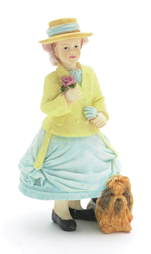 Dollhouse Miniature Daphne, Girl with Dog
