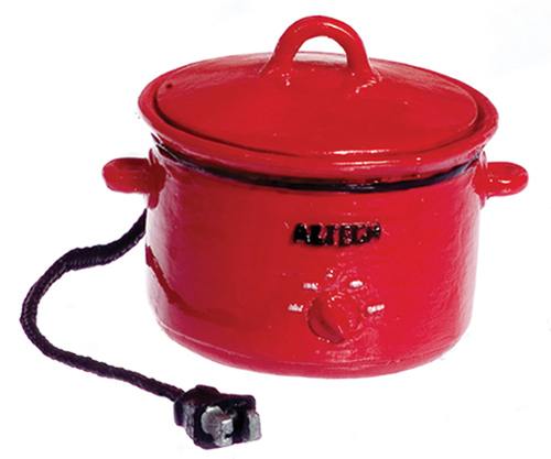 Dollhouse Miniature Electric Crockpot, Red