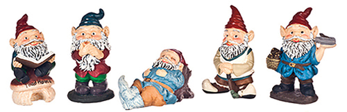 Dollhouse Miniature1 1/2In Gnomes Set, 5 pc