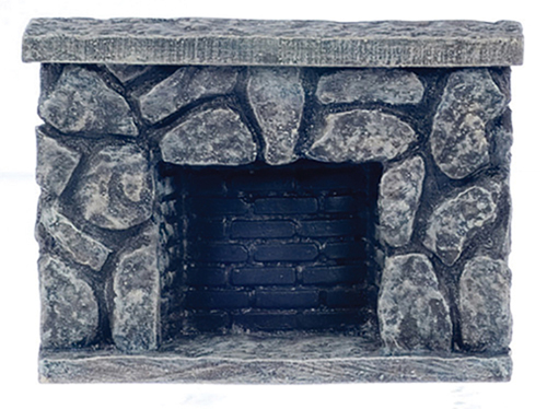 Dollhouse Miniature Fieldstone Fireplace
