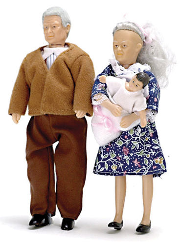 Dollhouse Miniature Grandparents with Baby/3