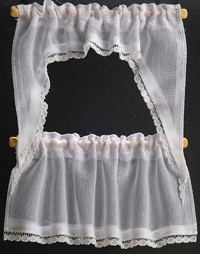 Dollhouse Miniature Curtains: Demi Cape, White