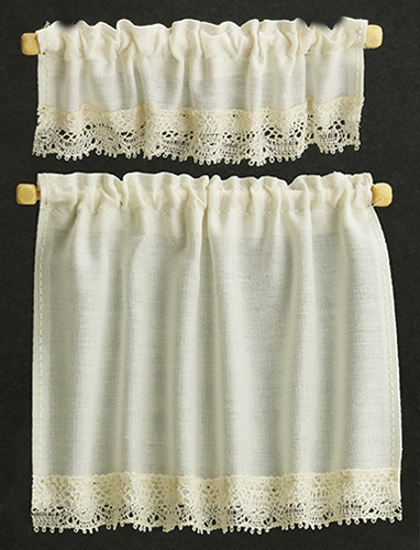 Dollhouse Miniature Curtains: Cottage Set, Ecru