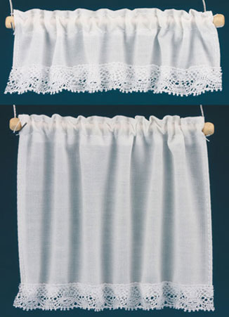 Dollhouse Miniature Curtains: Cottage Set, White