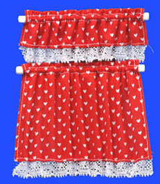 Dollhouse Miniature Cottage Curtains, Nursery Hearts, Red
