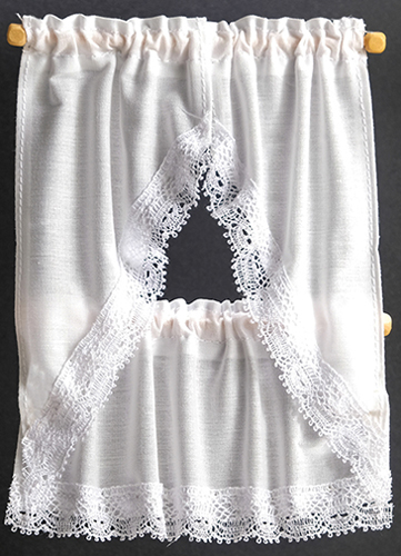 Dollhouse Miniature Kitchen Curtains: White
