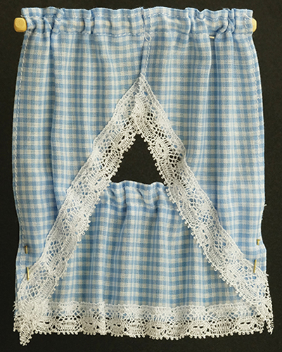 Dollhouse Miniature Kitchen Curtain: Gingham Blue