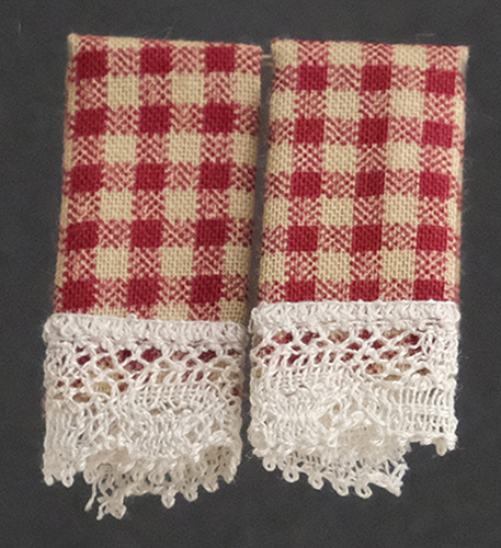 Dollhouse Miniature Dish Towels: Country Red, 2 pc