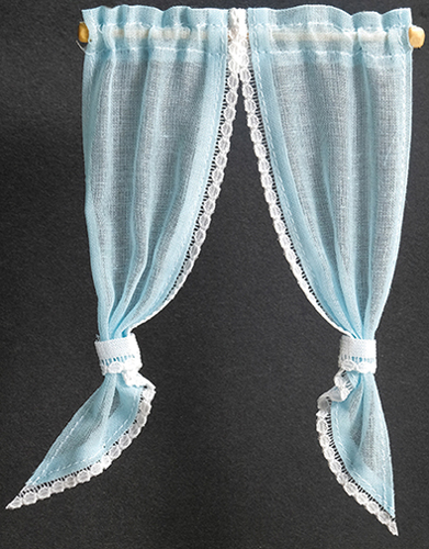 Dollhouse Miniature Demi Curtains: Tie Back, Blue