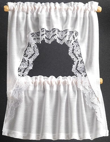 Dollhouse Miniature Curtains: Ruffled Cape Set, White
