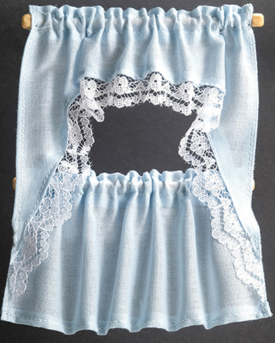Dollhouse Miniature Curtains: Ruffled Cape Set, Blue