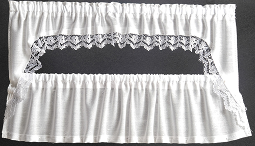 Dollhouse Miniature Curtains: Picture Window Cape, White