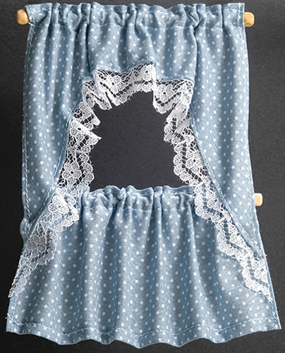 Dollhouse Miniature Curtains: Ruffled Cape, Blue Dots