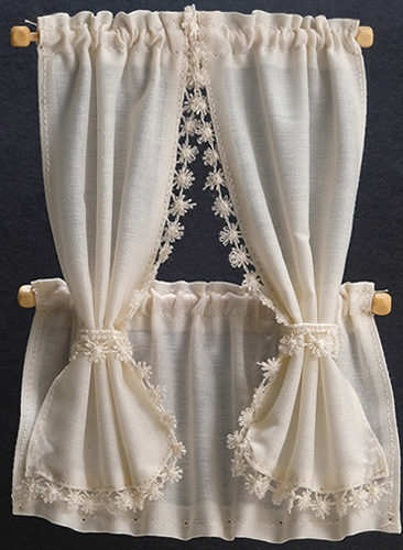 Dollhouse Miniature Cabin Curtains: Ecru