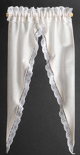 Dollhouse Miniature Curtains: Tiffany Ruffle, Ecru