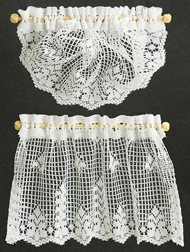 Dollhouse Miniature Curtains: Country Crochet Lace, White