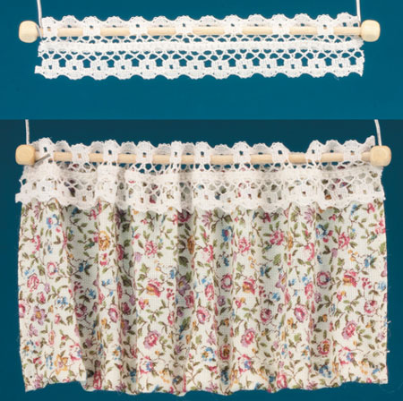 Dollhouse Miniature Curtains: Tab-Top Cafe, Rosebud Floral