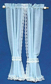 Dollhouse Miniature Tie Back Curtains: Blue