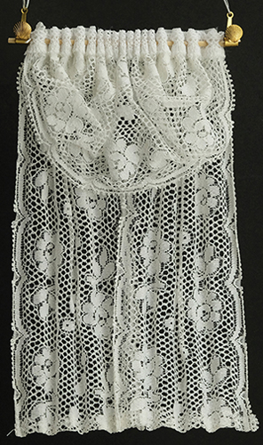 Dollhouse Miniature Single Window Drape, White Lace