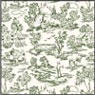 Dollhouse Miniature Wallpaper: Champagne Toile Green