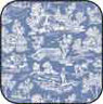 Dollhouse Miniature Cotton Fabric: Reverse Toile Blue