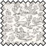 Dollhouse Miniature Silk Fabric: Champagne Toile Grey