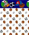 "Dollhouse Miniature 1/4"" Scale Wallpaper: Sports"