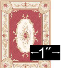 "Dollhouse Miniature Rug: Aubusson Red, 1/4"" Scale"