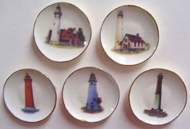 Dollhouse Miniature Lighthouse Plate 5Pcs.