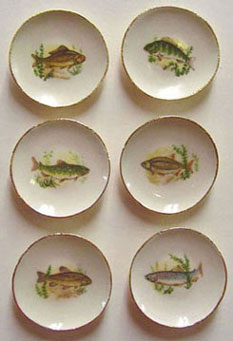 Dollhouse Miniature 6 Fish Plates