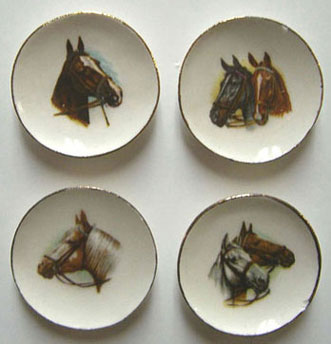 Dollhouse Miniature 4 Horse Head Plates