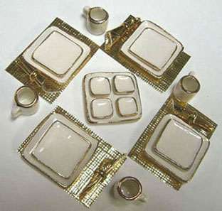 Dollhouse Miniature Square Dish Dinner Set