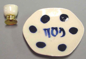 Dollhouse Miniature Ceramic Seder Plate & Goblet