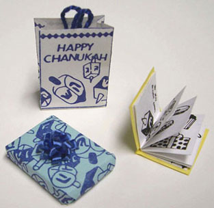 Dollhouse Miniature Chanukah Shopping Bag, Gift,& Book