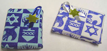 Dollhouse Miniature Wrapped Chanukah Gift Blue Or White