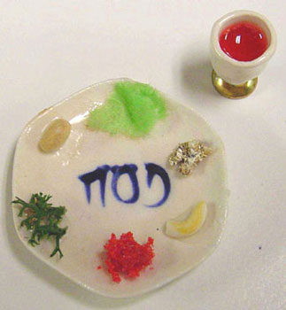 Dollhouse Miniature Seder Plate with Food & Filled Goblet