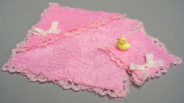 Dollhouse Miniature Pink Towel Cloth & Duck, Pink
