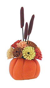Dollhouse Miniature Pumpkin with Floral Arrangement