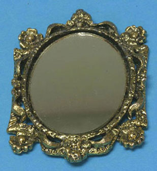 Dollhouse Miniature Mirror, Oval, Assorted Frames, Gold