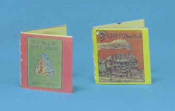 Dollhouse Miniature Railroad & Peter Rabbit Readable Books, Antique Reproduction