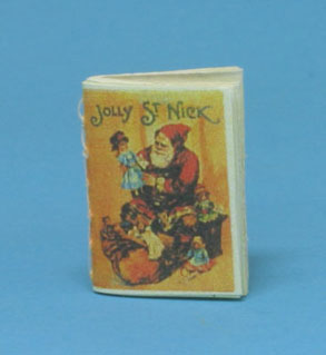Dollhouse Miniature Jolly Saint Nick, Readable Book, Antique Repro