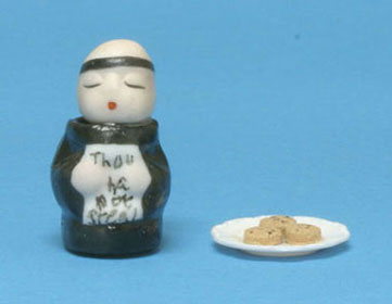 Dollhouse Miniature Thou Shall Not Steal Monk Cookie Jar W/Assorted Plate